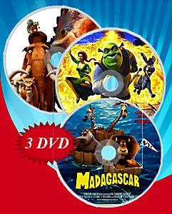 Мадагаскар / Ледниковый период / Шрек (Позитив-мультимедиа) (3 DVD)